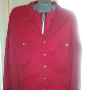 Avenue Cotton/Knit Button Down Shirt Sz 26/28 EUC!